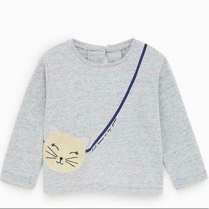 Zara girls 18-24 months shirt kitty long sleeve